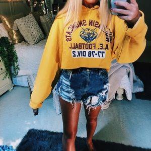 yellow cropped boyfriend hoodie